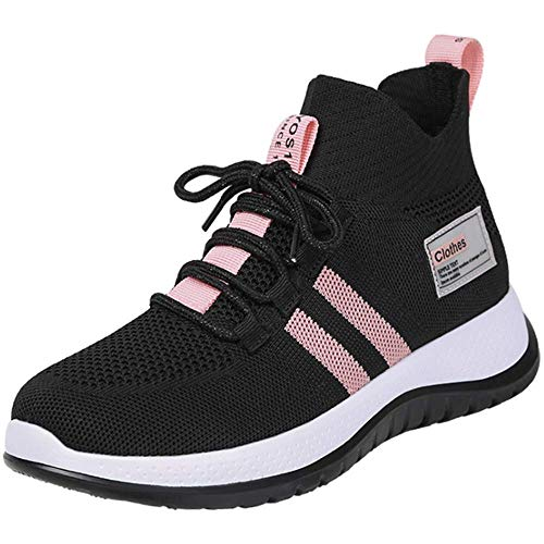 AXDNH Frauen-Geist-Laufschuhe, Fliegengittergewebe Breath Tanzen Schuh Wear-Resistant PU weiche Unterseite Aerobic-Schuhe,Rosa,EU37