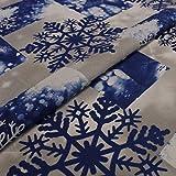 Hans-Textil-Shop Stoff Meterware Schneeflocken Blau - Für