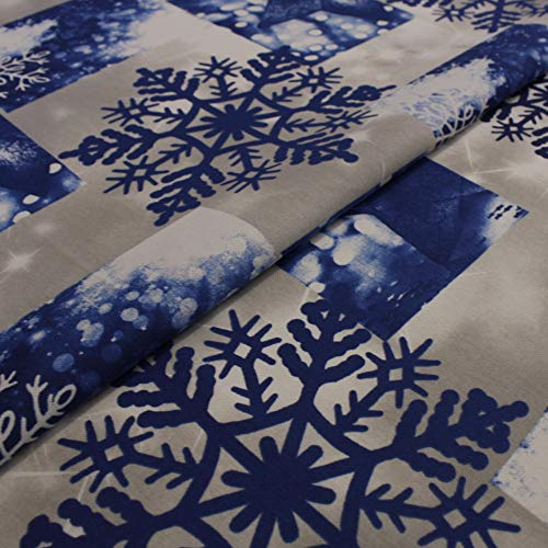 Hans-Textil-Shop 1 Meter Stoff Meterware Schneeflocken Blau - Für Winter, Weihnachten, Deko, Tischdecke, Kinder, Nähen, Basteln