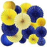16PCS Yellow Royal Blue Birthday Graduation Party Congrats Grad Decoration Supplies Hanging Paper Fan Rosettes Honeycomb Ball Lanterns Royal Prince Boy Baby Shower Wedding Bridal Shower Photo Backdrop