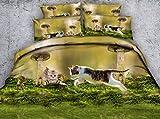 LifeisPerfect JF-307 Precioso Gatito realistas y champiñones Imprimir Edredón Cubrir Conjunto 4pcs Kids Cat Imprimir Conjuntos de Ropa de Cama Queen Size Completo