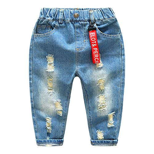 Kinder Baby Boy elastische Taille zerrissene Löcher Jeanshose Jeans