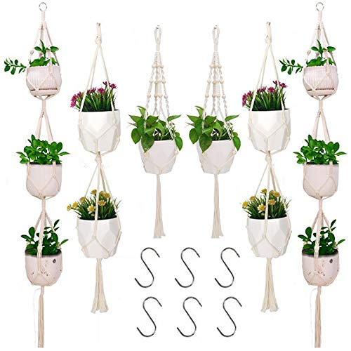Mcree 6Pack Macrame Plant Hangers with 6 Hooks, 3 Different Tiers, Cotton Rope Hanging Planters Set Flower Pots Holder Stand, Indoor Outdoor Decorative Hanging Planters Basket, 69in/48in/35in