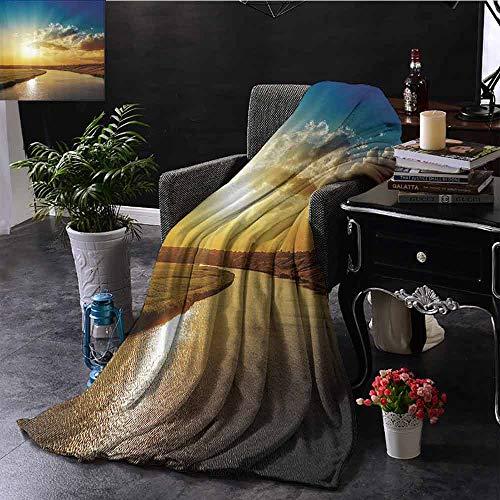 GGACEN bont gooien deken Brug en Oude Boot aan de Rivier Distressed Paint Stijl Nostalgische Stad Retro Picture Zachte en comfortabele slaapbank