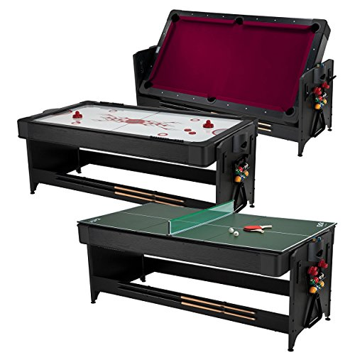 Fat Cat Original 3-in-1 Green 7' Pockey Multi-Game Table - Air Hockey, Billiards and Table Tennis - Burgundy