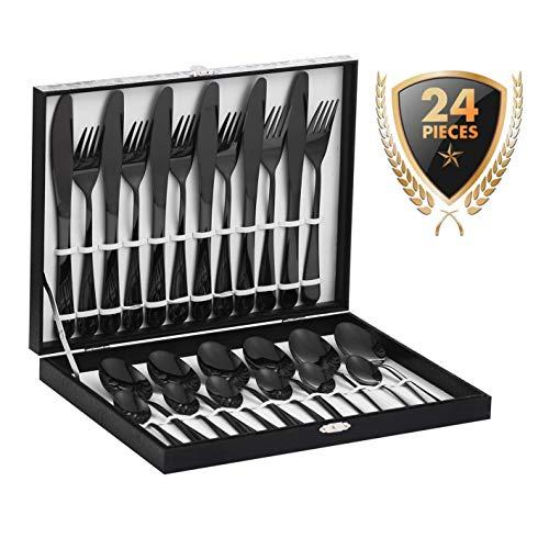 Velaze 24-teiliges Besteckset aus Edelstahl, 18/10 Premium-Besteck für 6 Personen, inklusive Esslöffel, Essgabel, Essmesser und Teelöffel, spiegelpoliertes Design (Schwarz)