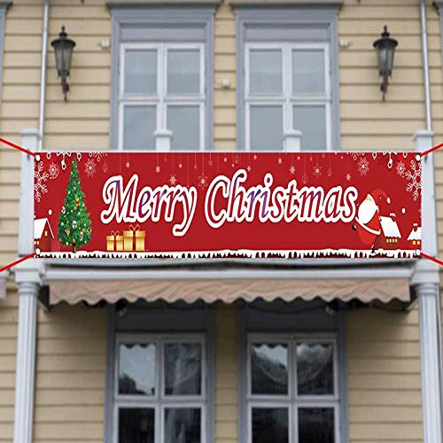 "Large Red Merry Christmas Banner, YXFT Xmas Holiday Hanging Banners Festival Decorations with Snowflake & Tree Print for Fence, Home, Door, House Decor ( 118"" x 20"" )"