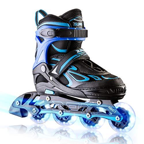 2PM SPORTS Verstellbar Inliner für Kinder, Leucht Inline Skates Rollschuhe für Damen/Herren (Navy, Medium(33-36EU))
