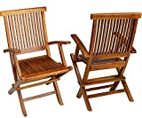 TeakCraft Teak Folding Arm Chair, 2 Piece Set, Fully Assembled, Wooden Outdoor Chair or Indoor, Wood Lounge Chair, Patio Dining Chairs, TheMillenim