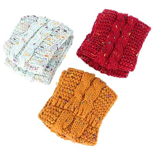 Happyyami 3 Piezas de Invierno de Punto Diadema Calentador de Orejas Diadema Estiramiento Grueso Cable Tejido Abrigo de Cabeza para Mujeres Y Niñas Estilo 2