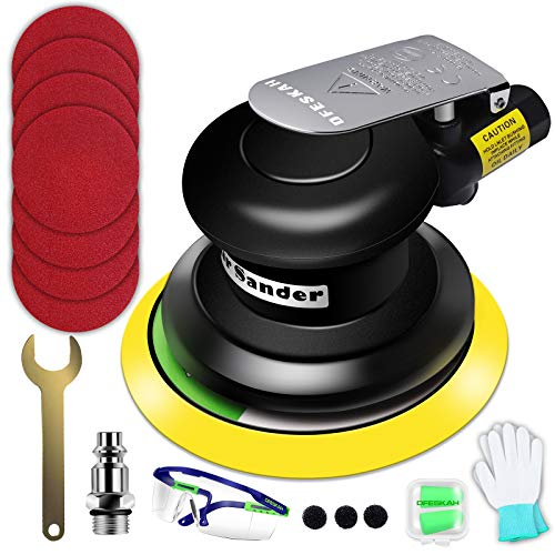 Druckluft Exzenterschleifer, Pneumatische Exzenter Poliermaschine Set 125mm, Air Sander Schleifmaschine für Auto Metall, Schleifgerät Multischleifer