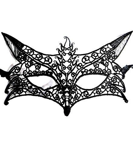 Lovelegis Maske für Katzenkostüm - Venezianer - Verkleidung - Karneval - Halloween - Makramee - Schwarze Farbe - Erwachsene - Frau - Mädchen - Geschenkidee für Weihnachten und Geburtstag