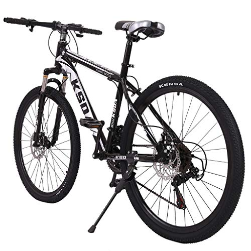 Junior Aluminum Full Mountain Bike, Stone Mountain 26 Inch 21-Speed Bicycle, City Riding Travel Go Working,High Carbon Steel Lightweight and Durable All-Terrain Mountain Bike for Men Women (Black)
