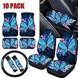 Best Car Seat Covers - LedBack Blue Butterflies Design Car Floor Mat Carpet Review