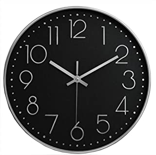 HOIBAI クロック 壁掛け時計 電池式 おしゃれ 見やすい 凸文字 時計 大文字 静音 連続秒針 北欧 シンプル インテリア カフェ 店舗 家 単三電池付き 立体数字 音無し 円形 無騒音 丈夫 書斎 部屋 (黒盤銀字)