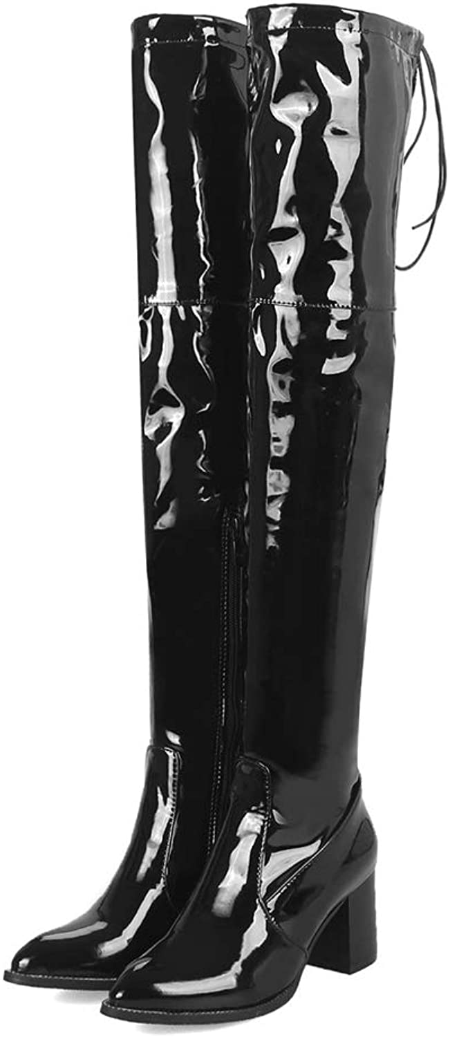 Sam Carle Women Boots, Fashion Black Two Lining Back Lace Pointed Toe Over The Knee Boots