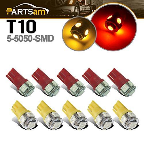 Partsam T10 LED Light Bulbs 10pcs 5-5050-SMD T10 194 LED Bulbs top roof cab Marker Light Compatible with Dodge ram// //Hummer RV Pickup Trucks