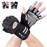 Gym Gloves, SLB Training Gloves with Full Wrist Support, Palm Protection and Extra Grip, Breathable Sport Gloves for Gym and Fitness, Great for Weight lifting,Cross Fit Training(Men & Women-B/M)