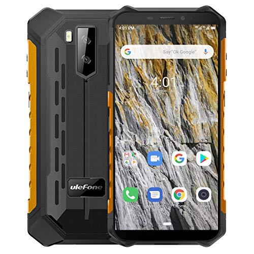 Ulefone Armor X3 Telephone Portable Incassable 32Go + 2Go (2020), Android 9.0 Écran 5.5 Pouces HD+, Batterie 5000mAh, Double SIM Nano Face ID Smartphone Pas Cher Mode sous-Marin et Gant (Orange)