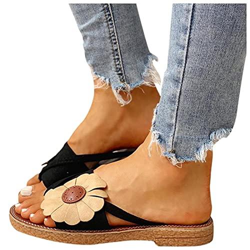 Binggong Pantofole Sandali Espadrillas Infradito Donna Eleganti con Fiori Ciabatte Donne Estive Mare Pantofole Casa Sandali Estivi Scarpe da Spiaggia Flip Flops Ciabattine Scarpe Piatte