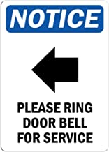 Notice - Please Ring Door Bell for Service Sign with Symbol   Label Decal Sticker Retail Store Sign Sticks to Any Surface 8