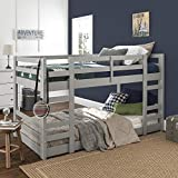 Walker Edison Alexander Classic Solid Wood Stackable Jr Twin over Twin Bunk Bed, Twin over Twin, Grey
