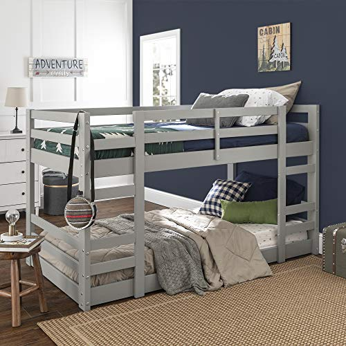 Walker Edison Alexander Classic Solid Wood Stackable Jr Twin over Twin Bunk Bed, Twin over Twin,...