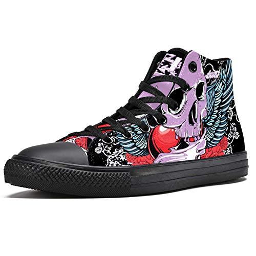 LORVIES - Zapatillas de deporte para hombre, diseño de calavera y corazón, color rojo y rosa, (multicolor), 43 EU