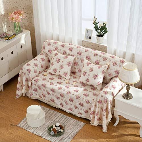 YLCJ Floral Bedrukte bankovertrek, stof in Europese stijl, verdikt lederen bankstel all-inclusive bankovertrek met sjaal, kussens, sofaovertrek, eenvoudige beschermhoezen, 180 x 280 cm (71 x 110 inch)