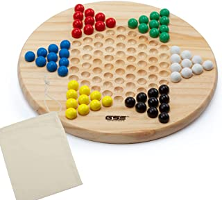Wooden Chinese Checkers Board Game Set for Kids & Adults (Chinese Checkers with Wood Marbles)