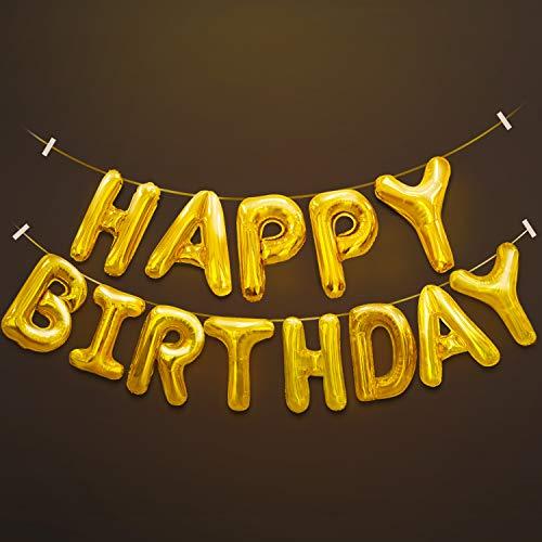 Nieuwigheid plaats Happy Birthday ballon Banner, aluminiumfolie Letters Banner ballonnen voor feestartikelen, verjaardagsdecoratie - goud