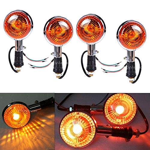 Easygo Replacement For Yamaha Virago XV 250 500 535 700 750 920 1100 4pcs Motorcycle Amber Round Turn Signals Lights