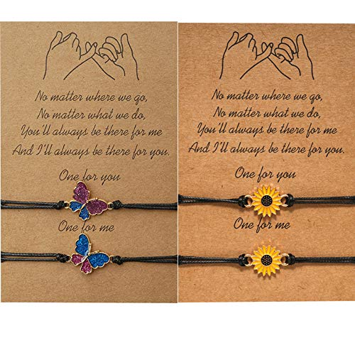 EXGOX Pinky Promise Bracelets 4PCS Friendship Couple Distance Matching Graduation Relationship Bracelet for Women Girls Couples Family (Butterfly and Sunflower)