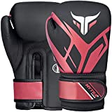 Mytra Fusion Guantes de boxeo para niños Guantes de boxeo para niños con palma ventilada MMA, Muay Thai, Sparring, Fighting, Punching Gloves (Black/Red, 4-oz)