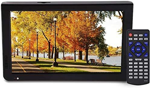 Televisor portátil de 10 Pulgadas, televisores analógicos Digitales 16: 9 Resolución de 1024 x 600 TV portátil para Aire Libre, Viajes, automóviles(EU Plug)