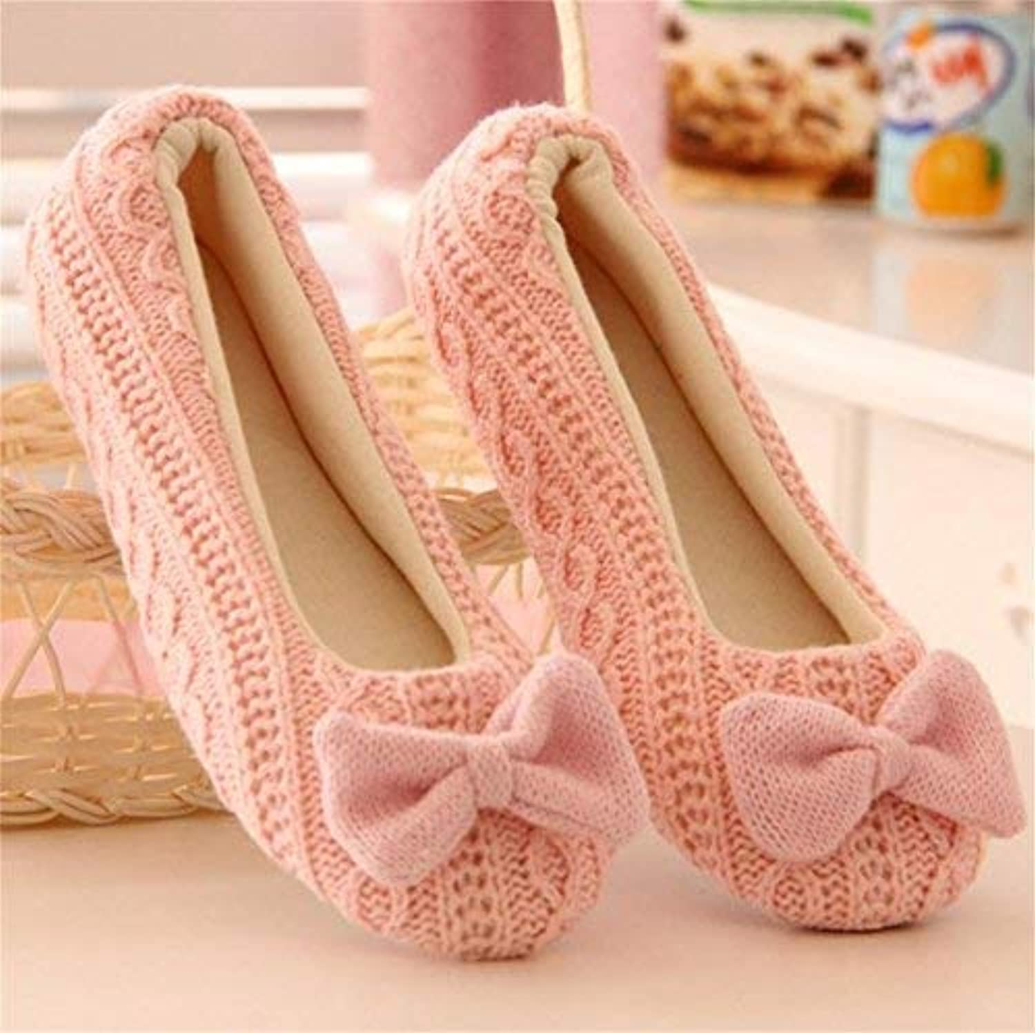 Lady Slippers Women's Home Slippers Indoor Warm Leisure Knitting Bow Decoration Pink Solid color Girlish Casual Cute Slippers Nude shoes