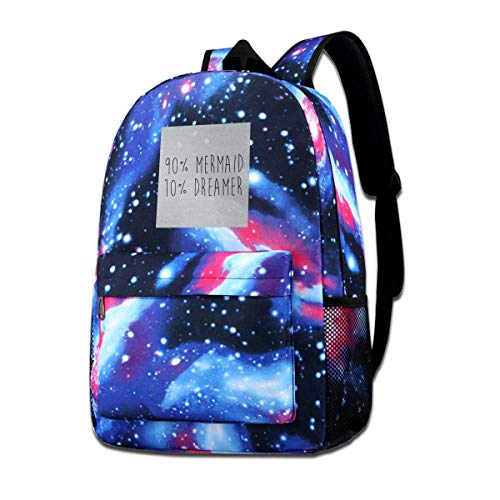 SFGHM Galaxy Bedruckte Umhängetasche Neunzig Prozent Meerjungfrau Zehn Prozent Träumer Mode Casual Star Sky Rucksack Für Jungen & Mädchen