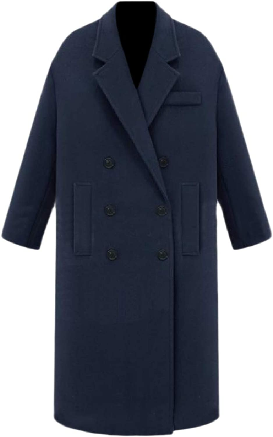 Whitive Womens Thick Double Breasted Slim Wool Classic Brumal Woolen Coat