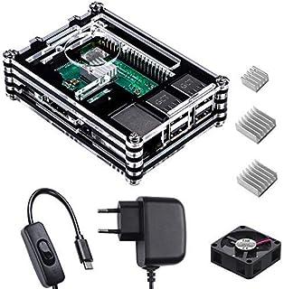 Smraza para Raspberry Pi 3 b+ Caja con Cargador de 5V / 3A con Conector ON/Off + 3X Disipador + Ventilador Compatible con ...