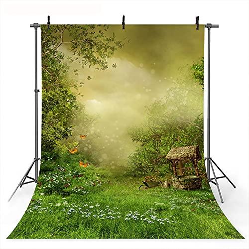 Fondo de Bosque de la Selva de Primavera Fondo de Fiesta de cumpleaños de Dibujos Animados ilusorios brumosos para Chico Mariposa de Pradera Verde A1 9x6ft / 2,7x1,8 m