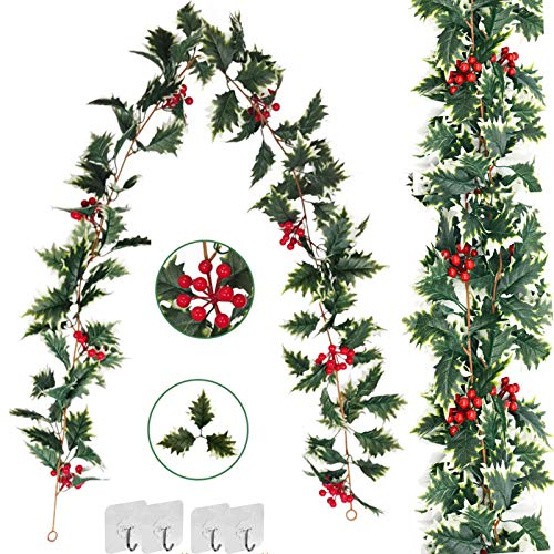 Memorz 2 Pack Artificial Christmas Leaves Garland 5.9Ft/Piece Vines Plants Faux Leaf String with Berries Festival Decor Fireplace Halloween