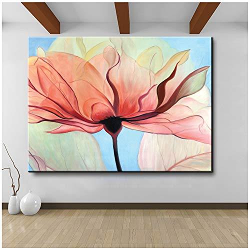 """juntop Leinwand Kunstdruck Gemälde Ölgemälde Vintage Home Decor für Wohnzimmer Lila Blaue Blumen und Schmetterling Poster 60x90 cm / 23,6""""x 35,4"""" Kein Rahmen"""