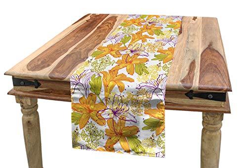 ABAKUHAUS Floral Camino de Mesa, Lirio De Los Pétalos De Flor Exótica, Decorativo Estampado Digital Apto Lavadora No Destiñe, 40 x 225 cm, Violeta Verde Manzana Marigold