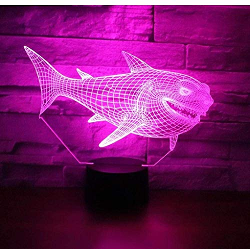 3D Led Night Light Shark Side with 7 Colors Light for Home Decoration Lamp Amazing Visualization Optical Illusion Awesome