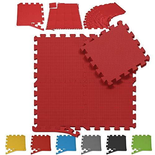 Physionics Bodenmatte - 1m2-6m2, 16-96 Teilen, Puzzleteilmaße 26x26x1,2 cm, Eva-Schaumstoff, Farbwahl - Puzzlematten, Sportmatte, Bodenschutzmatten, Schutzmatte, Spielmatte für Fitness