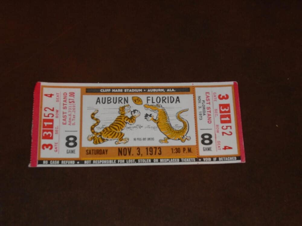 1973 FLORIDA AT AUBURN FOOTBALL TICKET Max 88% At the price of surprise OFF FULL