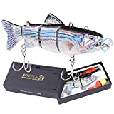 Robotic Swimming Fishing Electric Lures 5.12' USB Rechargeable LED Light 4-Segement Wobbler Multi Jointed Swimbaits Hard Lures Fishing Tackle