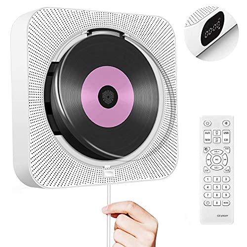 CCHKFEI CD Player Bluetooth mit Hintergrundlicht Lautsprecher CD-Player für Wandmontage Unterstützt Fernbedienung LED-Anzeige FM-Radio USB- und TF-Kartenwiedergabe 3,5 mm Audiobuchse Staubschutzhülle