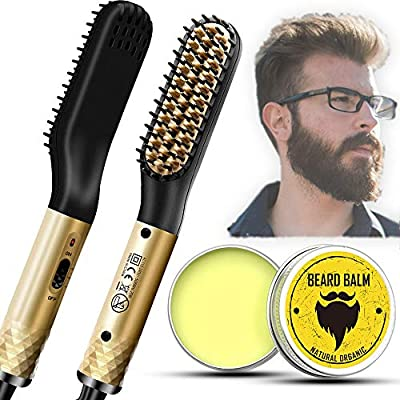 Hair Straightener Brush for Men, Electric Heated Beard Comb With...