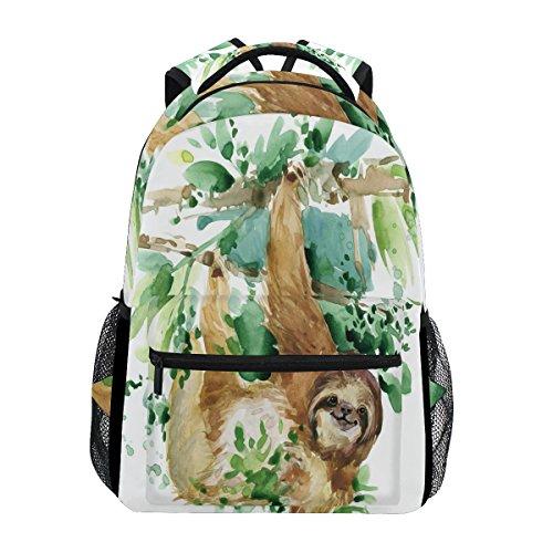 WXLIFE Tropical Animal Sloth Watercolor Backpack Travel School Shoulder Bag for Kids Boys Girls Women Men